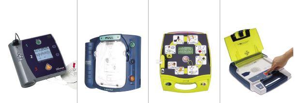 Verschiedene Modelle von AED-Geräten