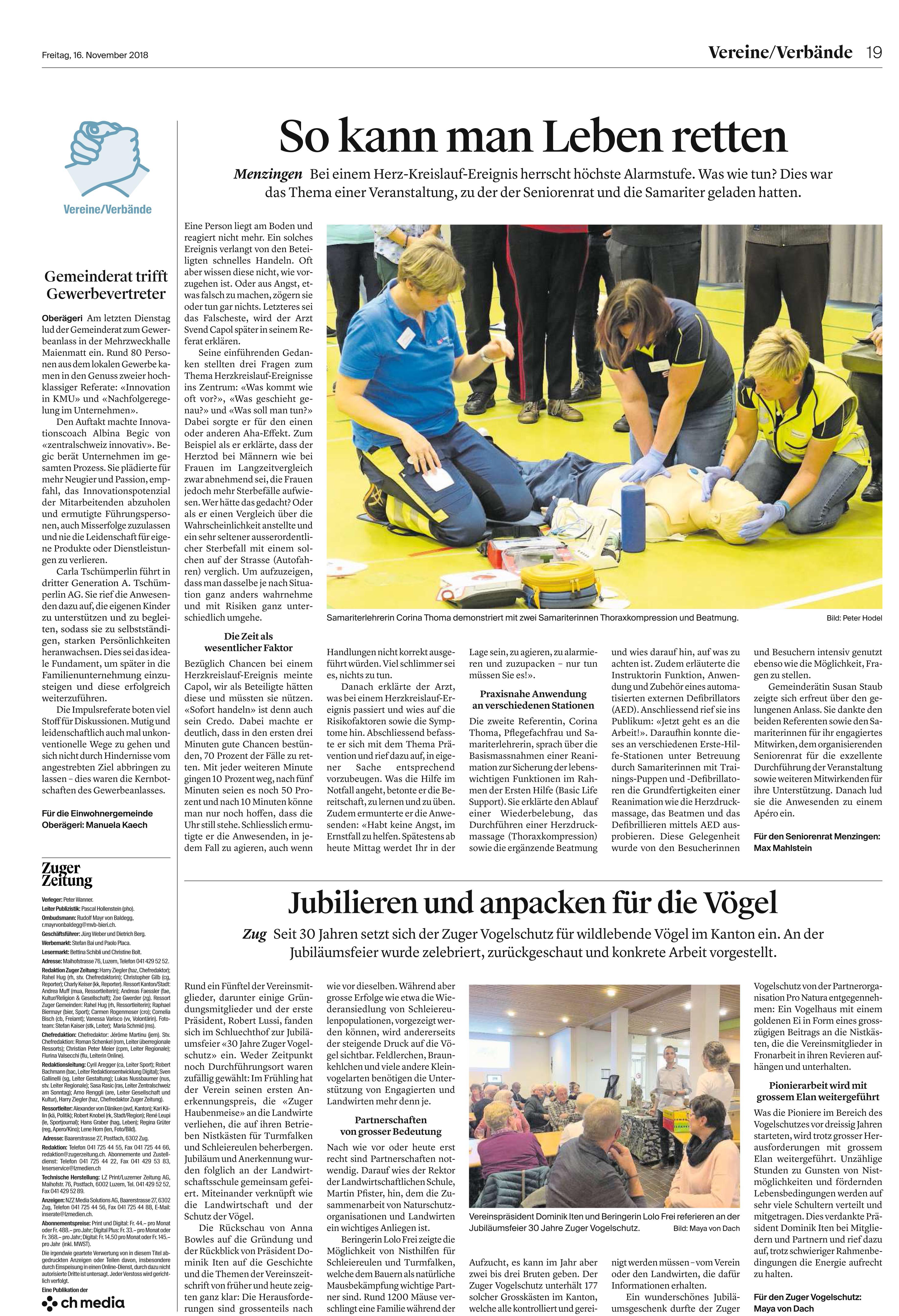 Pressemitteilung SV-Menzingen