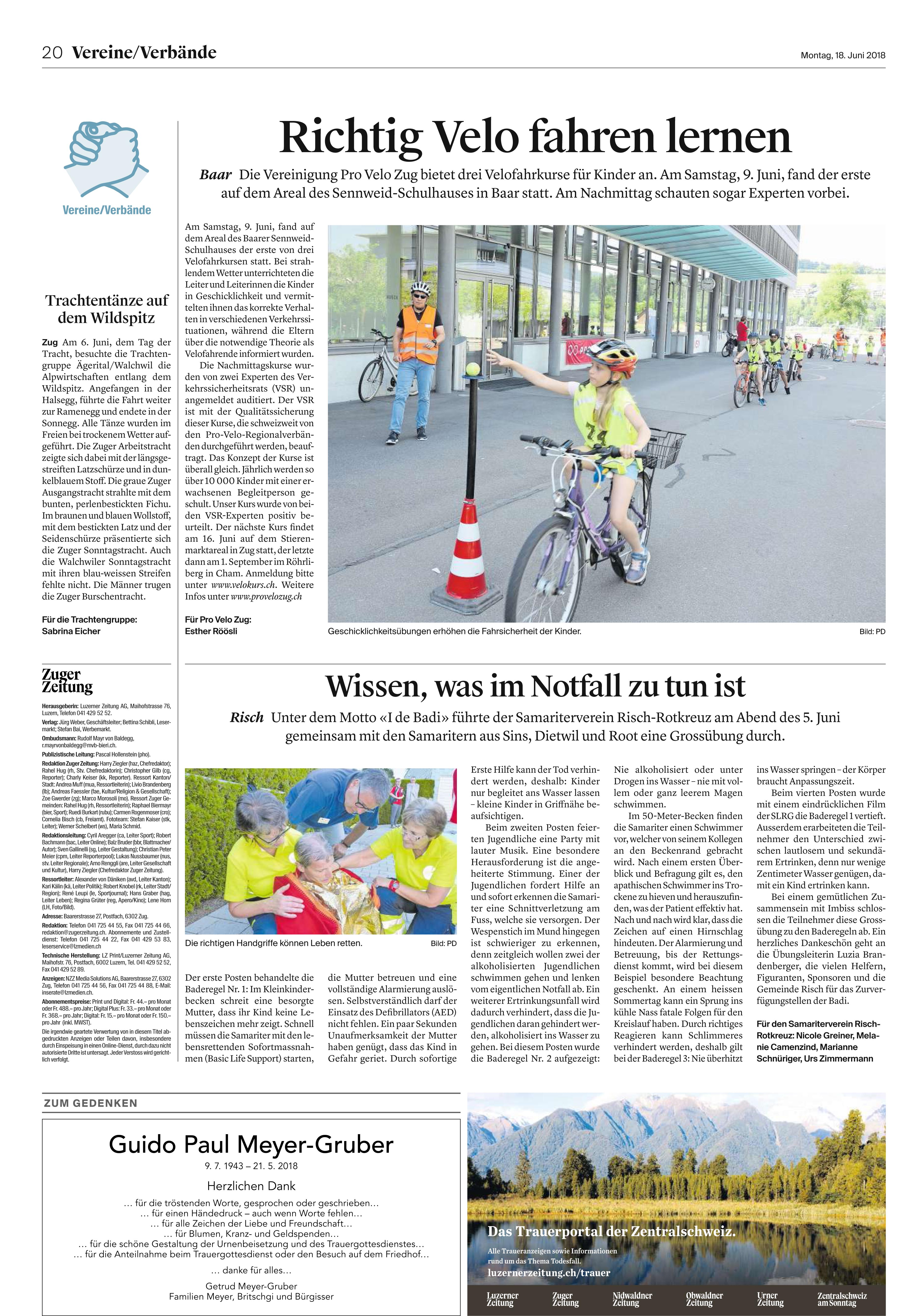 Pressemitteilung SV-Risch Rotkreuz
